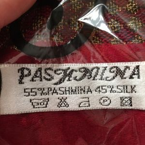 Pashmina and silk scarf cranberry with golds NWOT